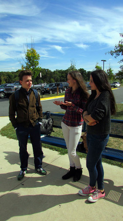 (Left to right)Haun, Gaetke, and Thies  together outside of school. Photo by Shelby Greene.