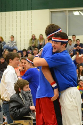 Braedon Urie embraces teammate Davy Wick after win.