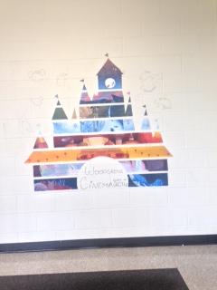 The Disney themed junior stairwell mural.