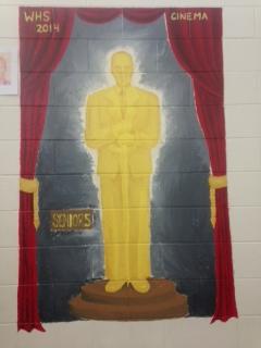 The Oscar themed senior stairwell mural.