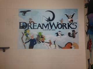 The DreamWorks themed freshmen stairwell mural