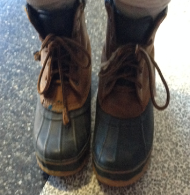 Senior Dina Gusinac wearing the popular trend LL Bean Boots.