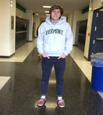 Senior Joey Corcoran wearing the popular trend of 80s jogger pants.