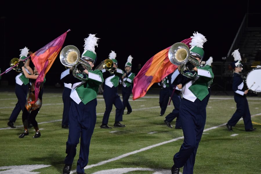 The Marching Wolverines perform at the game against cross-town rival, Loudoun Valley High School.