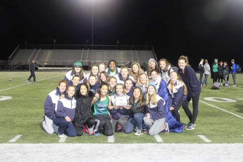 Lady Wolverines pose with their first place trophy.