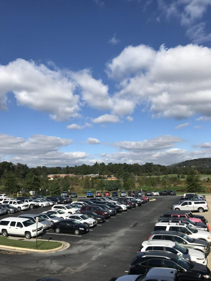 Cars fill up one of the Woodgrove parking lots.