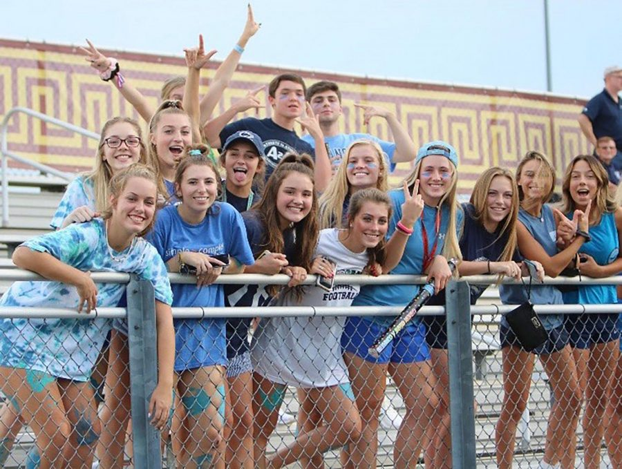 Blue out themed student section at Broad Run High School away game.