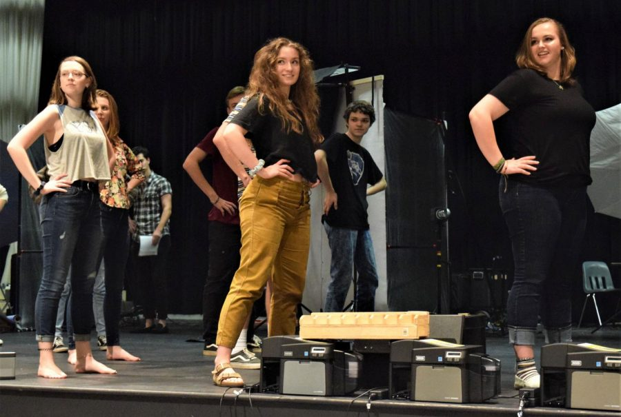 Left to right: Emily Reags (10), Meredith Gleason (12), and Savannah Geiger (11 rehearse for the show's opening number,