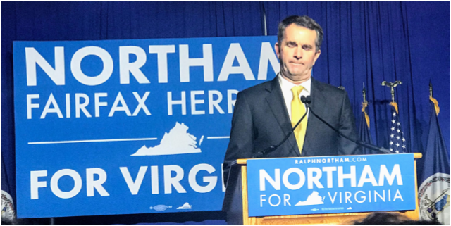 Governor of Virginia Ralph Northam gives his celebratory speech at George Mason after his election in 2017.