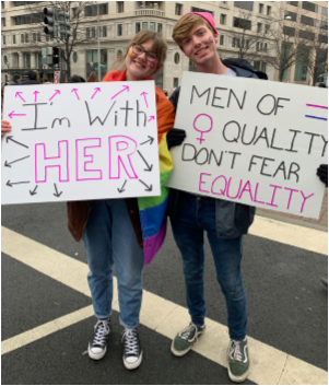 Grace Harkins and Dillon Holdridge participating in the Women's March in Washington D.C.