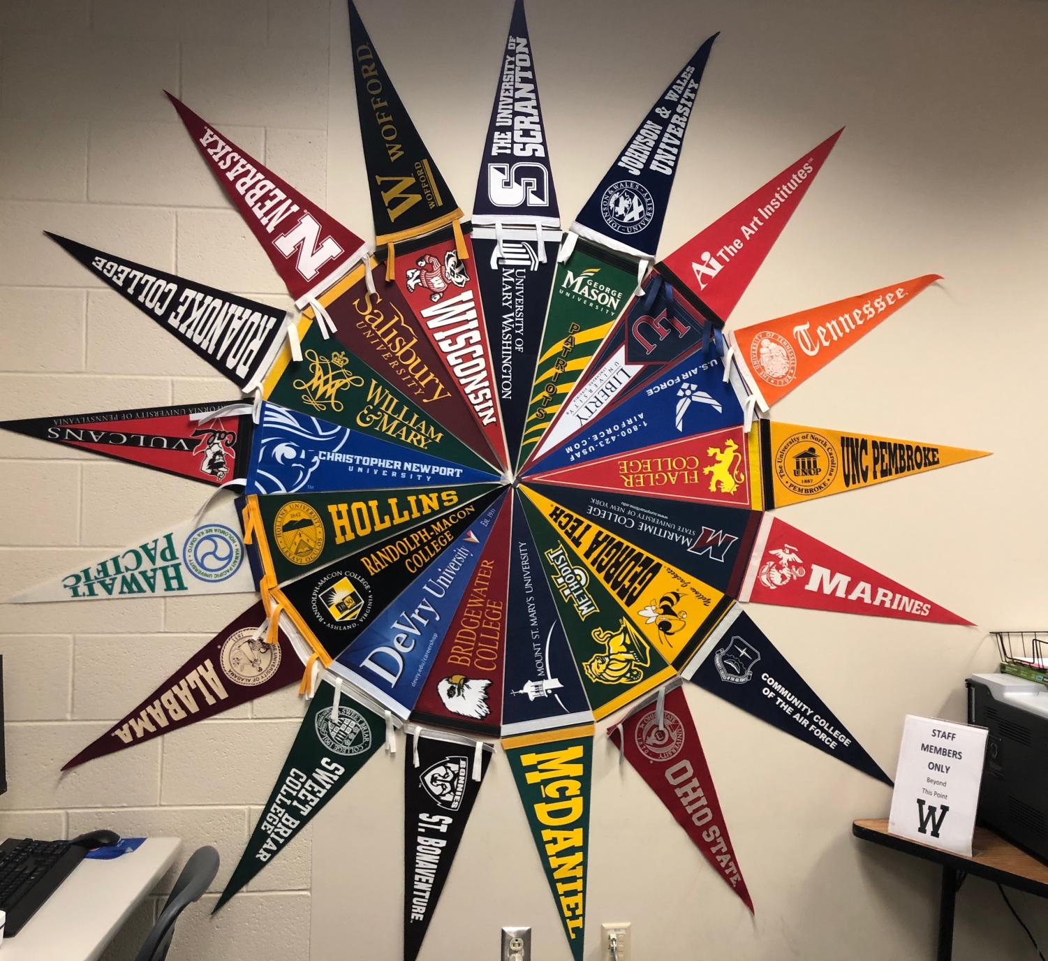 A display of a several popular colleges in Woodgrove's Career Center.