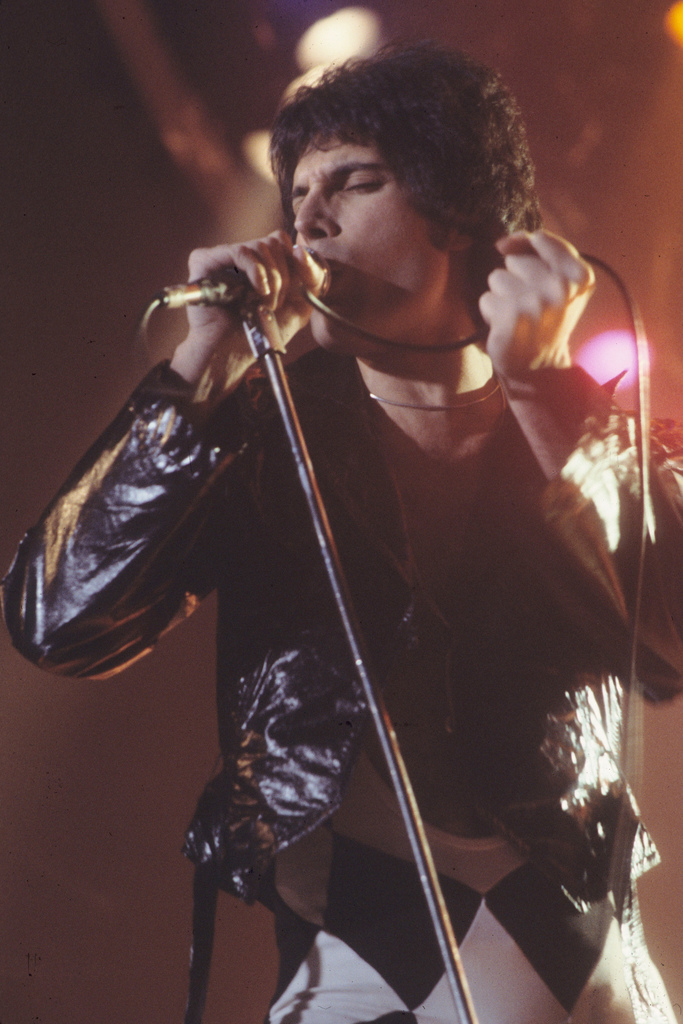 Freddie Mercury passionately sings at a Queen concert.