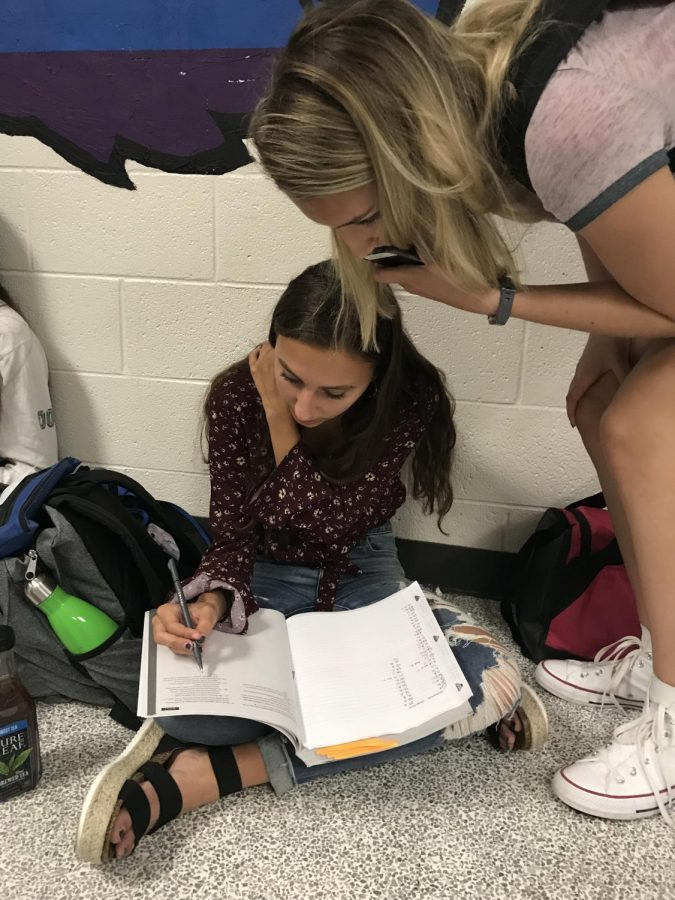 In the picture, sophomores Peyton Tarrant and Lindsay Bergman study for AP World History.