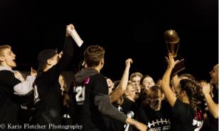 Senior+Powderpuff+team+celebrating+after+their+win+against+the+Juniors.+Photo+by+Karis+Fletcher