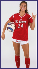 Stephens+smiling+at+her+NC+State+soccer+team+photoshoot.+Photo+provided+by+Dakota+Stephens.%0A