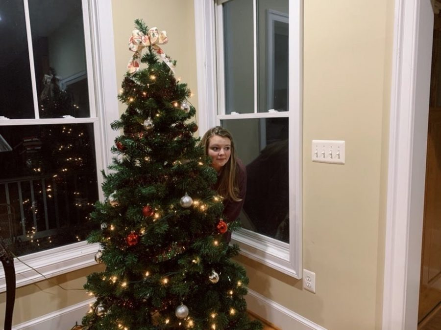 Sophomore Claire Davison demonstrates how to avoid crazy family members during the holidays. Photo provided by Claire Davison.