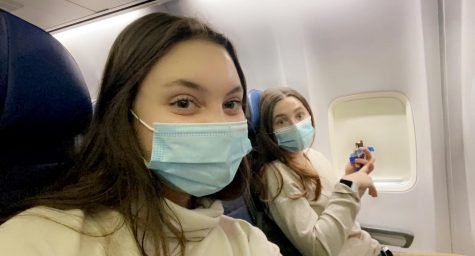 Photo provided by Carissa Vergeres.  Mia Cammarota and Carissa Vergeres aboard their flight to Denver.