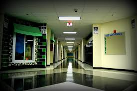 An empty Woodgrove hallway, lonely without students.
