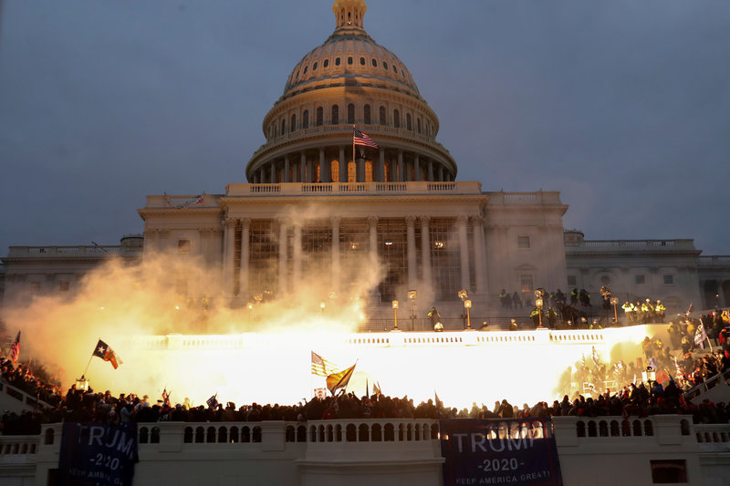 The US Capitol building as it was being stormed on January 6th, 2021.