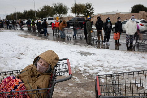 Texas residents lined up outside a grocery store the day before the winter storm began. Photo provided by Creative Commons.